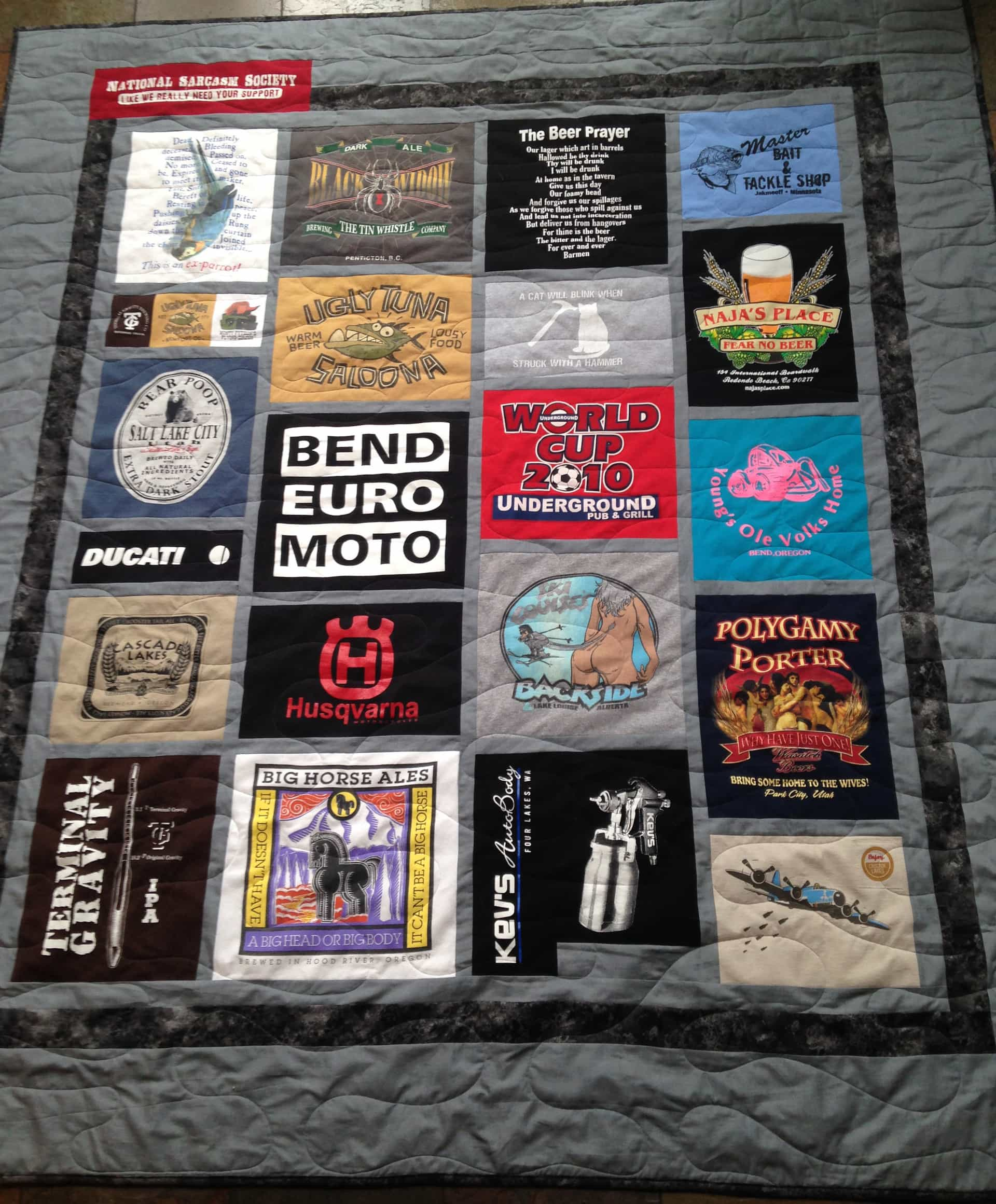 Image of a beer themed custom t-shirt quilt that I made for a customer