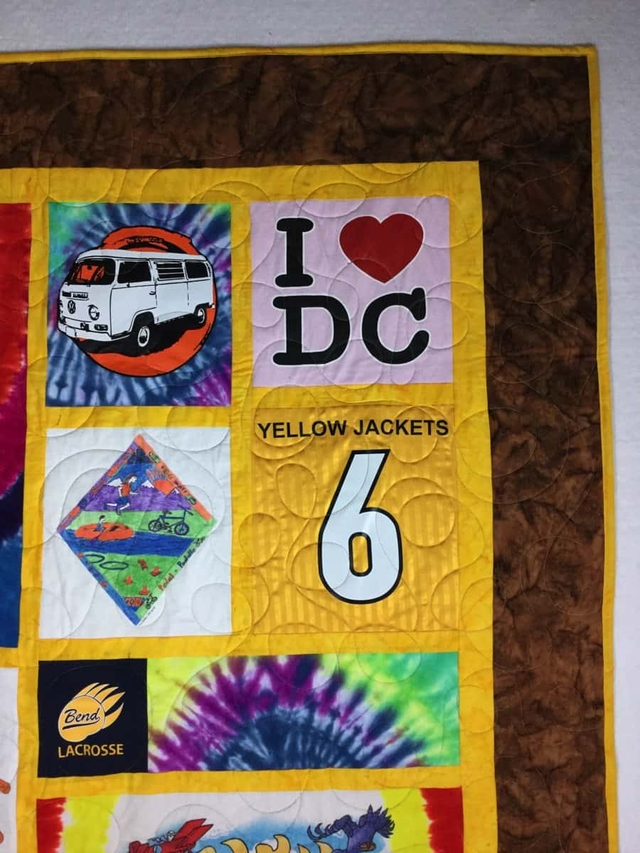 Image of a graduation gift custom t-shirt quilt that I designed and sewed for a customer