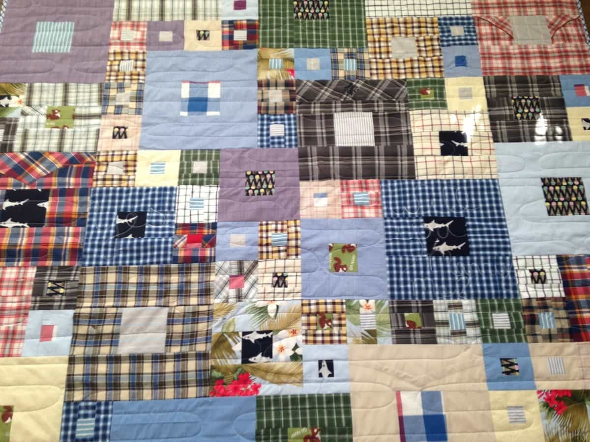 Custom Patch style quilt made from Work shirts
