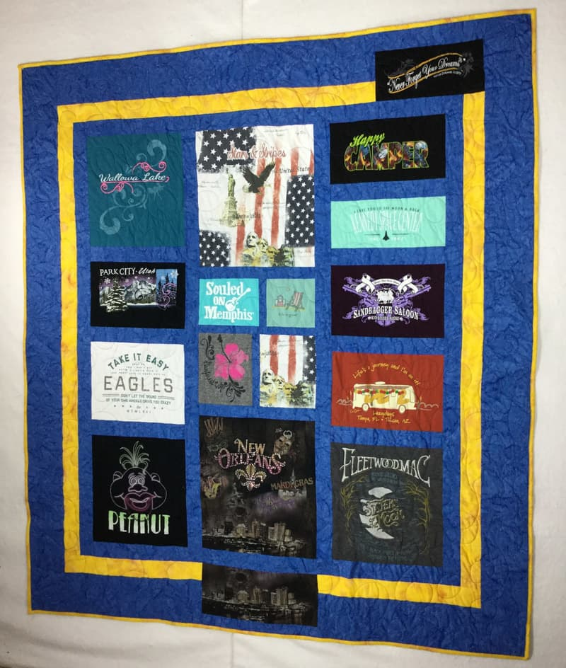 Image of a themed custom t-shirt quilt that I made for a customer